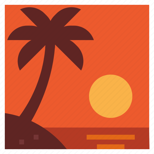 sea, summer, sunset, travel icon