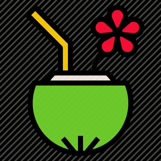 coconut, food, fresh, fruit, tropical icon