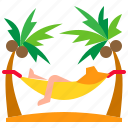 beach, cradle, gravity, relaxation, swing icon