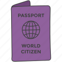 citizenship, country's nationality, passport, travel document, travel permit icon