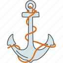 anchor, aquatic tool, nautical anchor, navy, ship navigation icon
