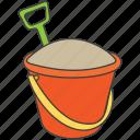 bucket, bucket with sand, gardening, gardening bucket, gardening tools, plantation