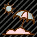 and, sun, umbrella icon