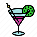 cocktail, drink, glass, lemon, party icon