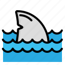 attack, danger, fin, shark, tail icon