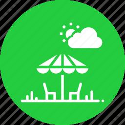 chair, chat, conversation, nature, park, sun, umbrella icon