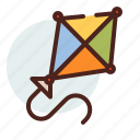 fun, kid, kite, wind icon