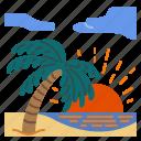 beach, sea, summer, trip, sun, ocean, sunset