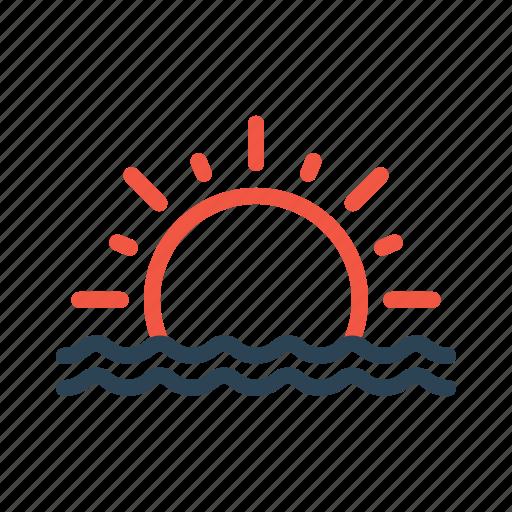 nature, sea, seaside, sun, sunreise, sunset, view icon