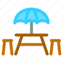 dining table, dinner, outdoor, table, umbrella icon