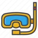 diving, holiday, snorkel, snorkeling, summer icon