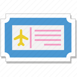 air ticket, airplane, plane ticket, travel ticket, travelling icon