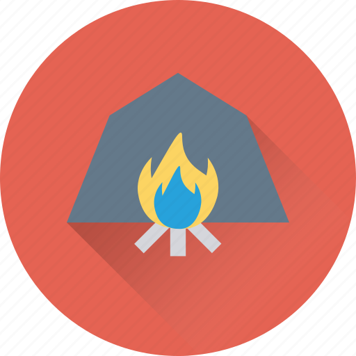 burning, campfire, camping, fireplace, flames icon