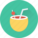 beach drink, coconut, coconut drink, coconut water, fruit drink icon