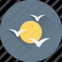 birds, morning, sight, sun, view icon