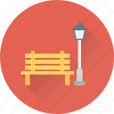 light, park, park bench, wooden bench icon
