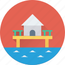 beach, beach home, home, house, summer icon