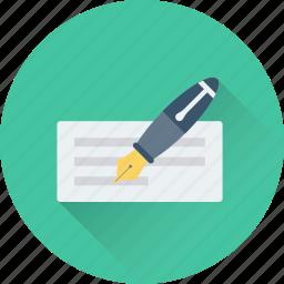 cheque signature, paycheck, payment, receipt, voucher icon