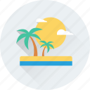 birds, landscape, palm tree, sun, tree icon