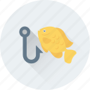 angling, fish hunting, fishing, fishing hook, fishing rod icon