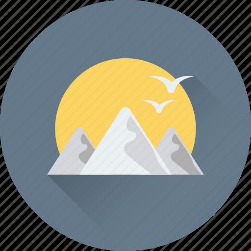 birds, landscape, morning, mountain, sun icon