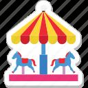 amusement park, carousel, fair ride, horse, merry go round