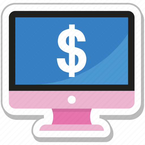 dollar, e banking, ecommerce, lcd, monitor icon