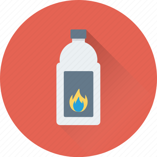 bottle, flame, flame bottle, gas bottle, science icon