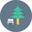bench, forest, nature, park, pine tree icon