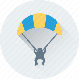 air balloon, fly, parachute, paratrooper, travel icon