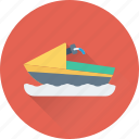 jet boat, powerboat, water boat, water motorbike, water transport icon