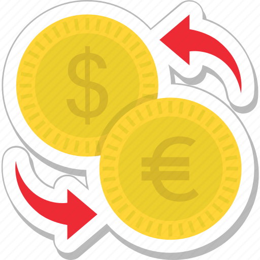 banking, currency, dollar, euro, money exchange icon