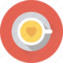 coffee, heart tea, mug, saucer, tea icon