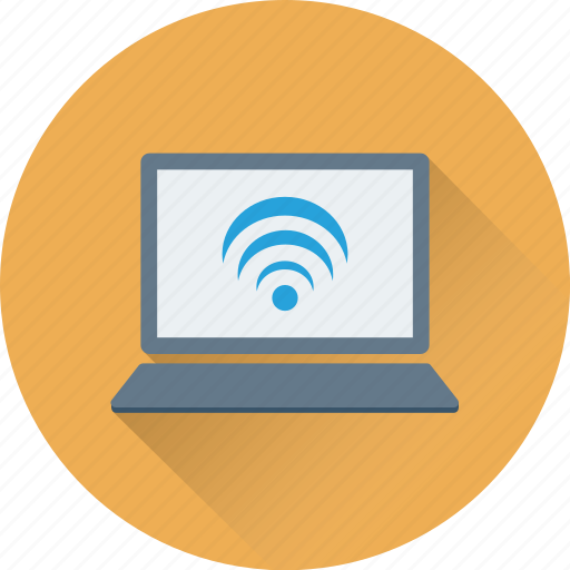 internet, laptop, wifi, wifi connection, wireless signals icon