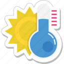 hot day, hot weather, morning, sun, thermometer icon