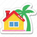 beach, house, hut, palm, resort icon