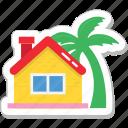 beach, house, hut, palm, resort icon