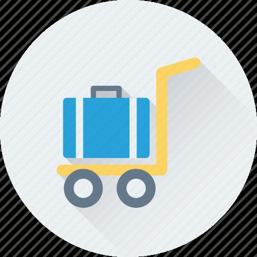 hotel trolley, luggage, luggage trolley, platform truck, trolley icon