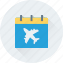 airplane, airport, calendar, flight schedule, wall calendar icon