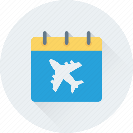 airplane, airport, calendar, flight schedule, wall calendar icon