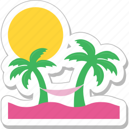 beach, holiday, palm, summer, trees icon