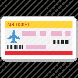 air ticket, airplane, plane ticket, ticket, travelling icon