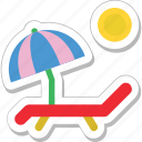 beach, deck chair, sunbathe, tanning, umbrella icon