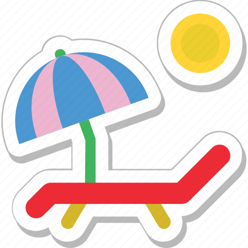 beach, deck chair, sunbathe, tanning, umbrella icon