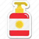 bottle, cosmetics, soap, soap dispenser, sun cream icon