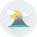 cloud, island, morning, mountain, sun icon