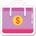 banking, commerce, dollar, money bag, shopping icon