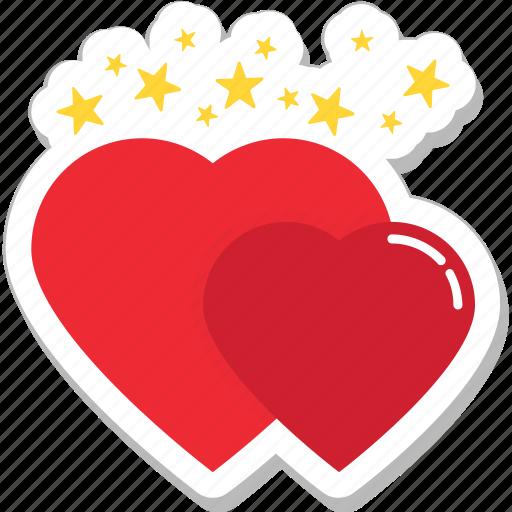 hearts, like, love, romance, valentine icon