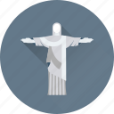 brazil, brazil statue, christ the redeemer, monument, statue monument icon