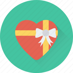 gift, gift box, heart, present, wrapped gift icon